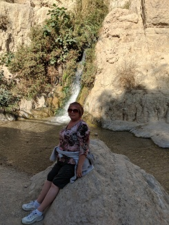 Shelley at David Falls, En Gedi